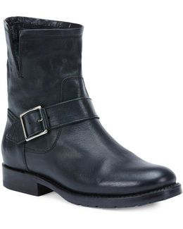Natalie Short Engineer Leather Boots