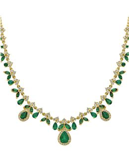 14k Yellow Gold Emerald And 1.34tcw Diamond Necklace