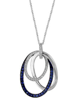 14k White Gold Sapphire Pendent Necklace With 0.21 Tcw Diamonds