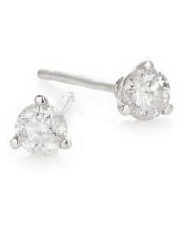 Sterling Silver And 0.25 Tcw Diamond Round Stud Earrings