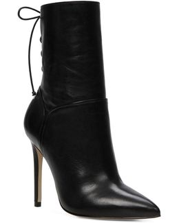 Angnes Pointy Toe Leather Dress Boots