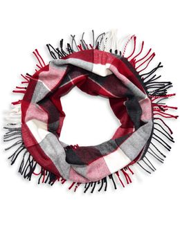 Colourblock Fringe Loop Scarf