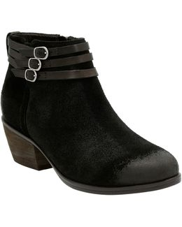 Leather Straps & Buckle Ankle Boots