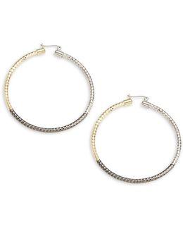 Tri-tone Hoop Earrings - 2.25in