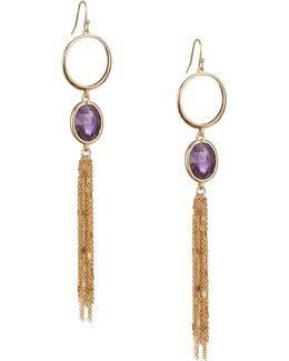 Quartz Cascade Statement Linear Earrings