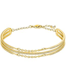 Fine Crystal Goldplated Multi-row Bangle Bracelet