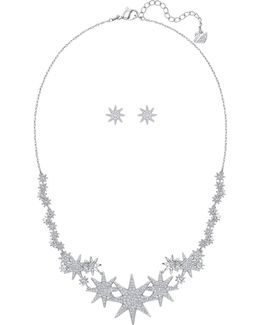 Fizzy Crystal Rhodium-plated Necklace And Stud Earrings Set