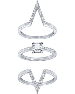 Funk Crystal Rhodium-plated Stackable Ring Set