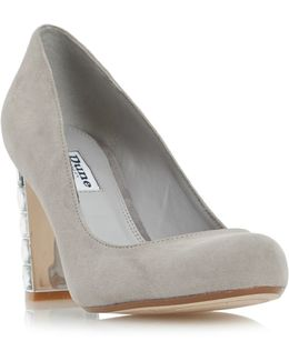 Jewel Block Heel Court Shoe