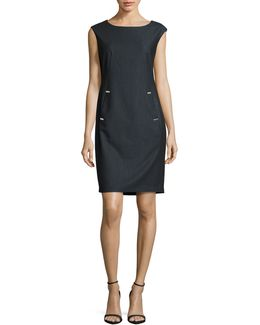 Sleeveless Bar Detail Sheath Dress