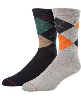 Mens Two-pair Argyle Crew Socks