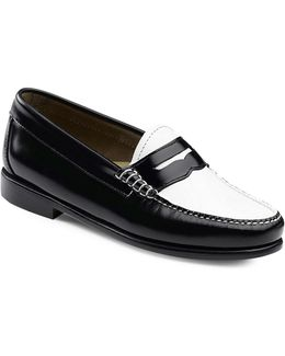 Whitney Contrast Vamp Leather Penny Loafers
