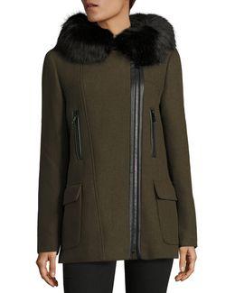 Fur Trim Wool Coat