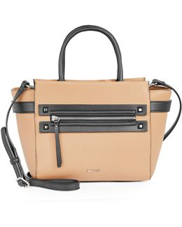 Get Poppin Faux Leather Satchel