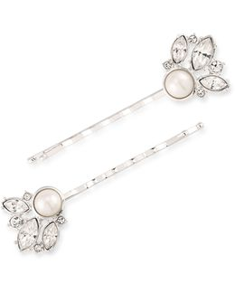 Waldorf Faux Pearl And Czech Stone Cluster Bobby Pins - Set Of Two