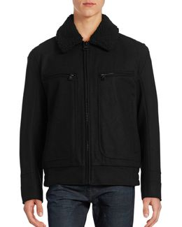 Faux Shearling Wool-blend Jacket