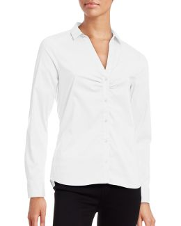 Ruched Front Split-collar Blouse