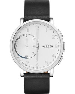 Hagen Connected Leather Hybrid Smart Watch