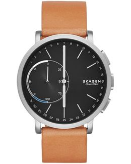 Hagen Connected Titanium And Leather Hybrid Smart Watch
