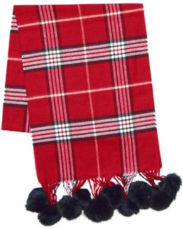 Classic Fraas Plaid Fur Pom-pom Scarf