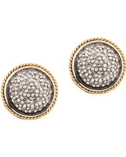 18k Yellow Gold And Sterling Silver Stud Earrings With 0.14 Tcw Diamonds