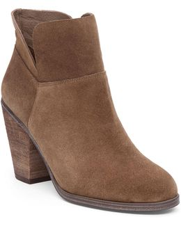 Helyn Cone Heeled Leather Booties