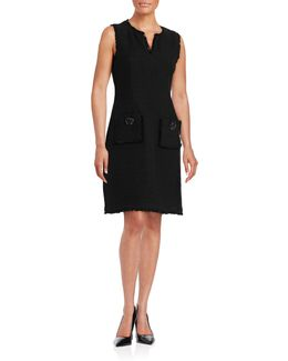 Suede-accented Sheath Dress