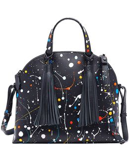 Paint Splattered Dome Satchel Bag