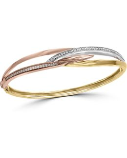 Trio 14k Tri-tone Gold And 0.39tcw Diamond Bangle Bracelet