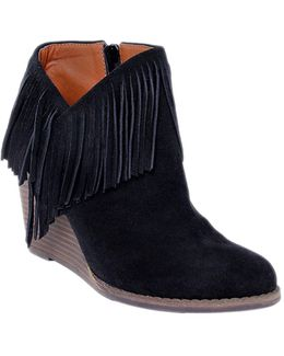 Yachin Fringed Suede Wedge Ankle Boots