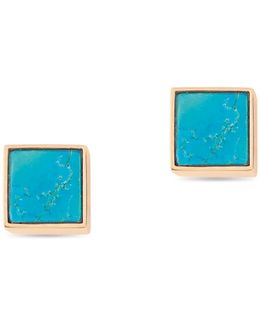 Ever Turquoise 18k Rose Gold Square Stud Earrings