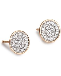 Ellipses And Sequins 18k Rose Gold Round Stud Earrings With 0.19 Tcw Diamonds