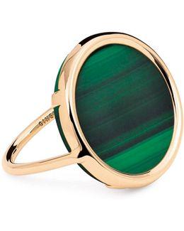 Ever Malachite 18k Rose Gold Disc Ring