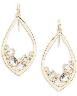 Crystal-accented Goldtone Teardrop Earrings
