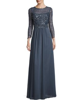 Sequined Lace Bodice Gown