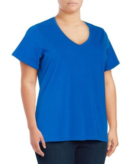 Plus Solid V-neck T-shirt