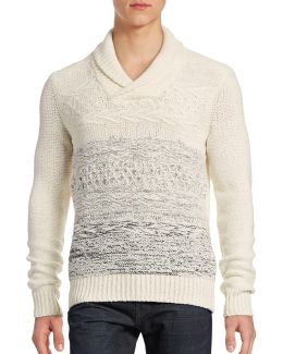 Ombre Boucle Shawl Collar Sweater