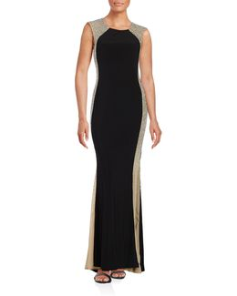Caviar Illusion Side Panel Gown