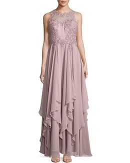Sleeveless Brocade Floaty Fit-and-flare Gown