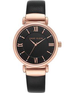 Analog Ak-2666rgbk Black Leather Strap Watch