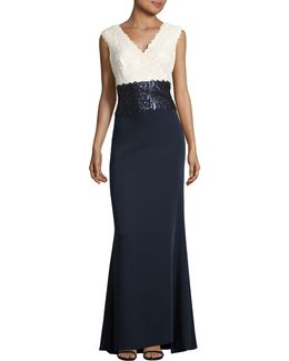 V-neck Sequin Crepe Gown