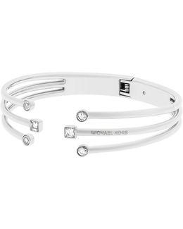 Modern Brilliance Cubic Zirconia Stainless Steel Hinged Open Bracelet