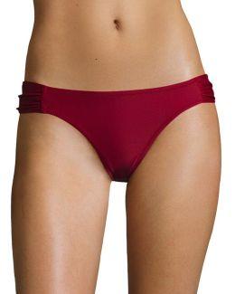 Basic Solid Shirred Hipster Swim Bottoms