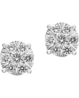 14k White Gold Stud Earrings With 0.52 Tcw Diamonds