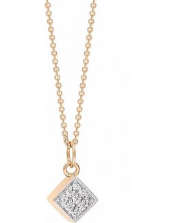 Ever Diamond 18k Rose Gold Square Pendant Necklace With 0.05 Tcw Diamonds