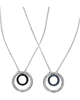 Diversa 0.33 Tcw White, Black, Blue Diamonds And 14k White Gold Pendant Necklace