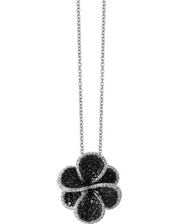 1.98 Tcw Black And White Diamond Studded 14k White Gold Floral Pendant Necklace