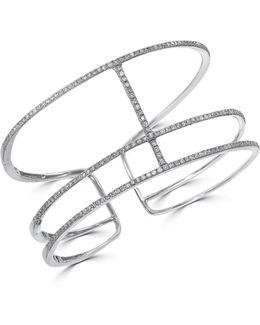 1.47 Tcw Diamonds And 14k White Gold Openwork Bracelet
