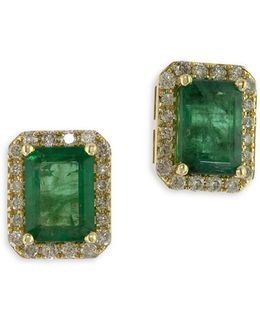 14k Yellow Gold Stud Emerald Earrings With 0.25 Tcw Diamonds