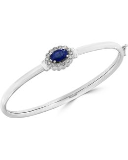 14k White Gold Sapphire Bangle With 0.041 Tcw Diamonds